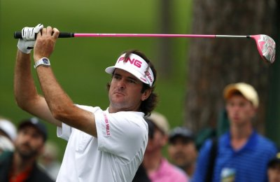 Bubba Watson of the U.S. hits his tee shot on the 17th hole during first round play in the 2012 Masters Golf Tournament at the Augusta National Golf Club in Augusta