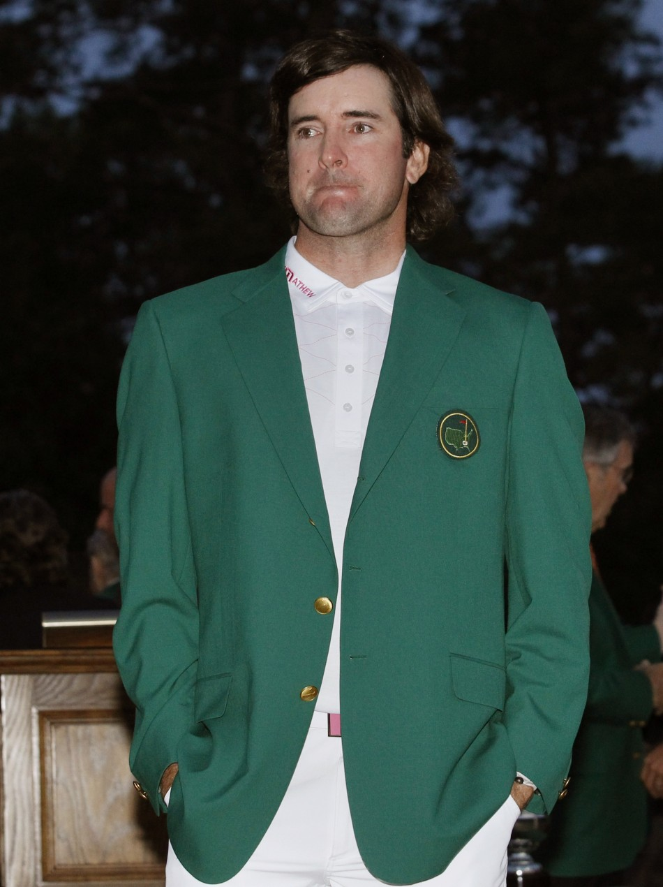 Bubba Watson of the U.S. wears his green jacket after winning the the 2012 Masters Golf Tournament at the Augusta National Golf Club in Augusta