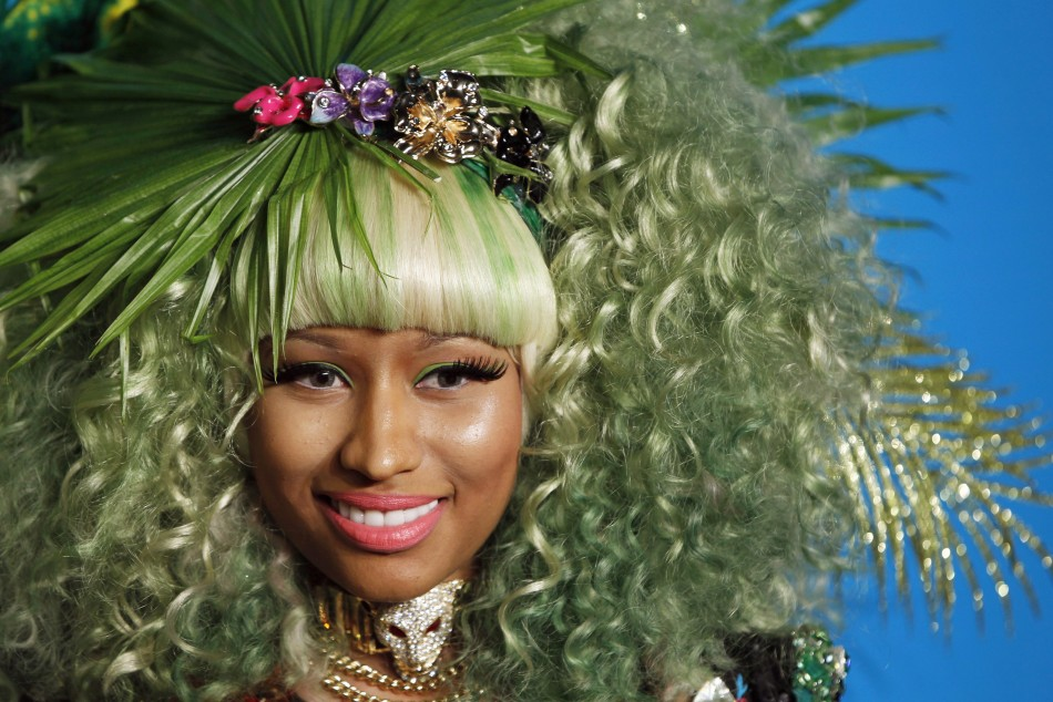 Singer Minaj arrives at a party to celebrate the upcoming launch of the Versace for HM collection in New York