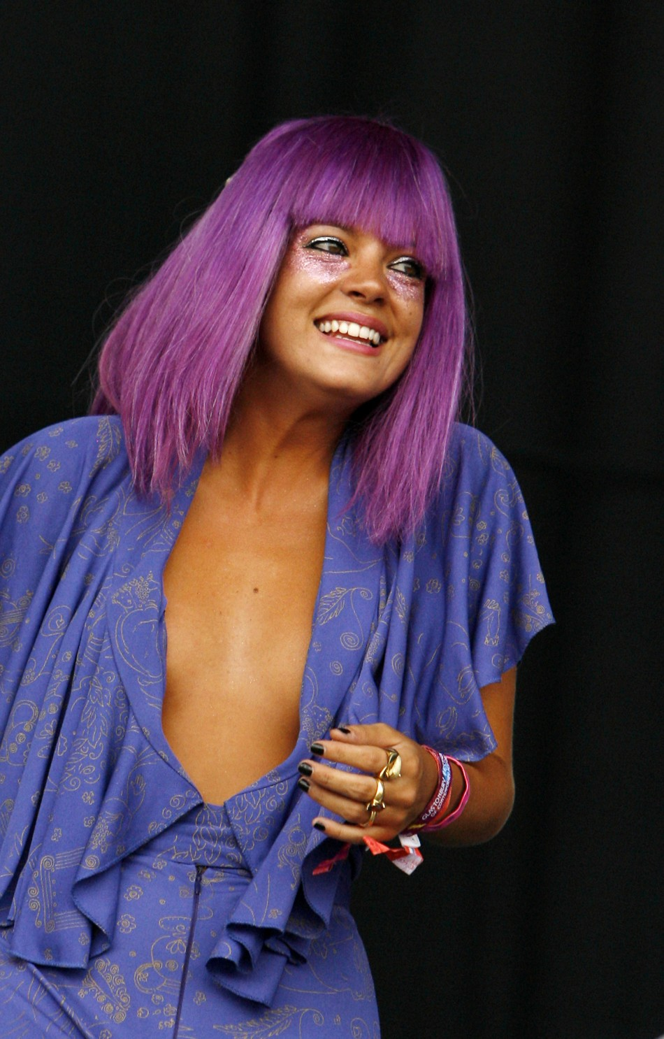 British singer Lily Allen performs at the Glastonbury Festival 2009 in south west England