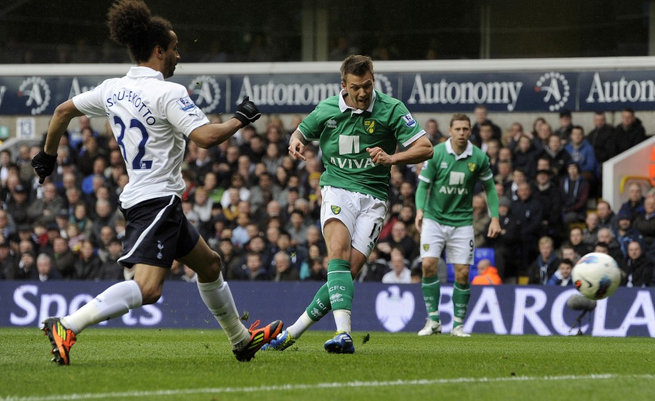Tottenham Hotspur039s Benoit Assou-Ekotto L challenges Norwich City039s Anthony Pilkington as he scores a goal during their English Premier League soccer match at White Hart Lane in London