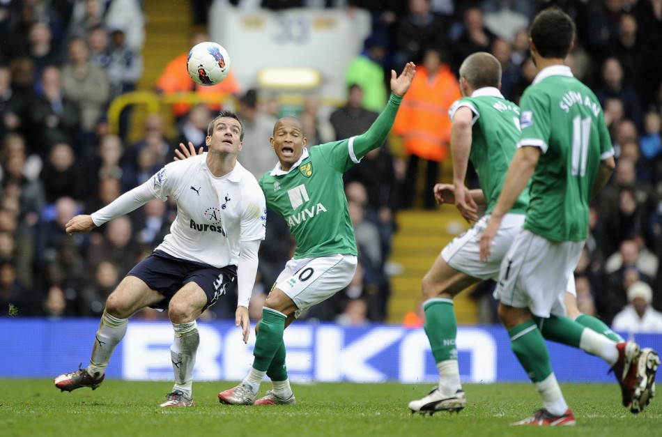 Tottenham Hotspur039s Ryan Nelsen is challenged by Norwich City039s Simeon Jackson during their English Premier League soccer match at White Hart Lane in London