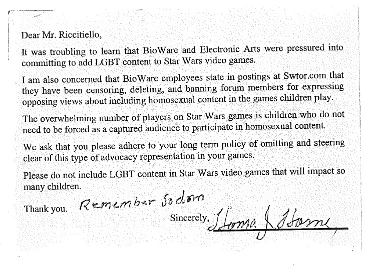Anti-Gay Campaign Letter