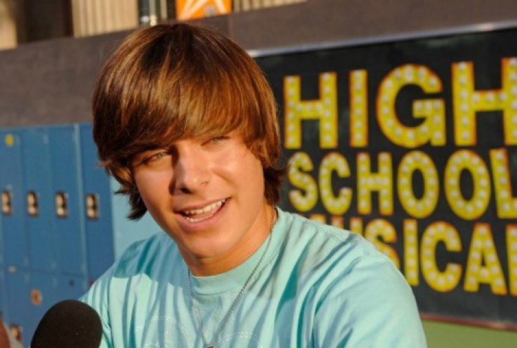 """Cast member Efron is interviewed at a screening of """"High School Musical"""" in Hollywood"""