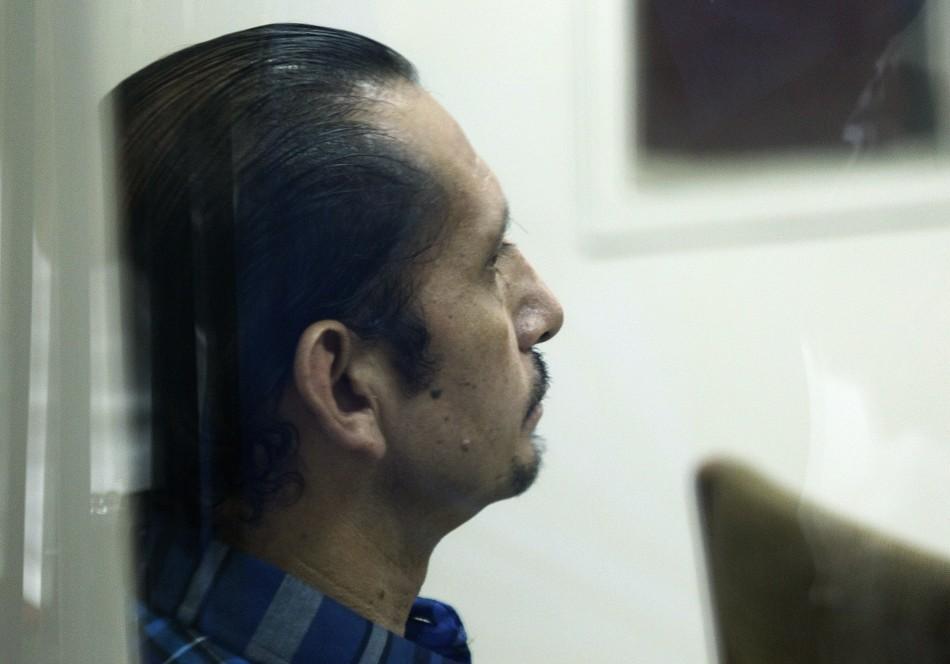 Telmo Hurtado attends his trial at Castro Castro prison in Lima in January