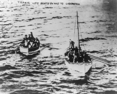 Titanic lifeboats on their way to the Carpathia following sinking of Titanic