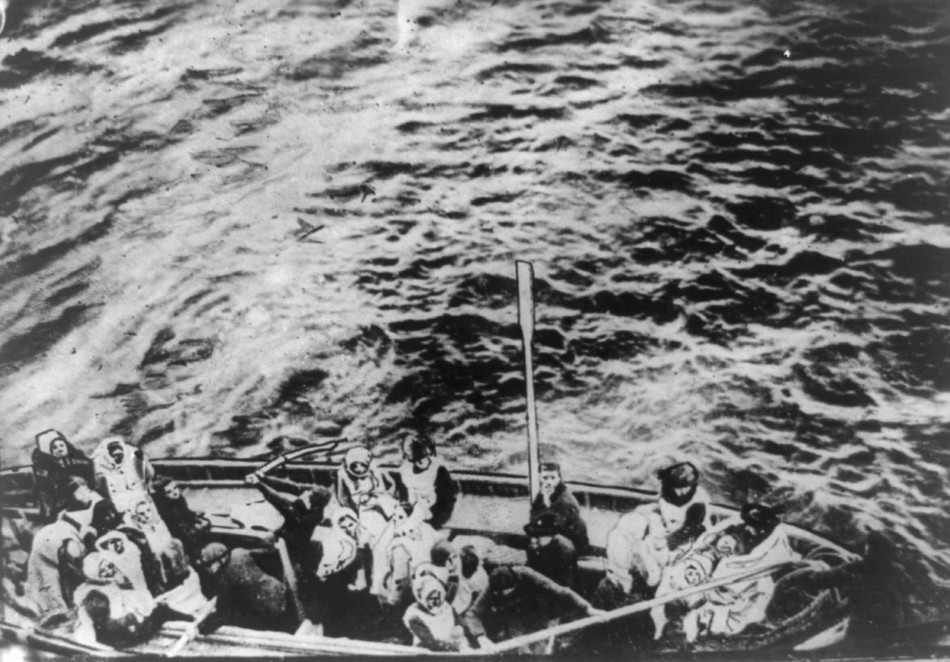 A lifeboat from the Titanic pulls alongside the Carpathia following the sinking of the Titanic