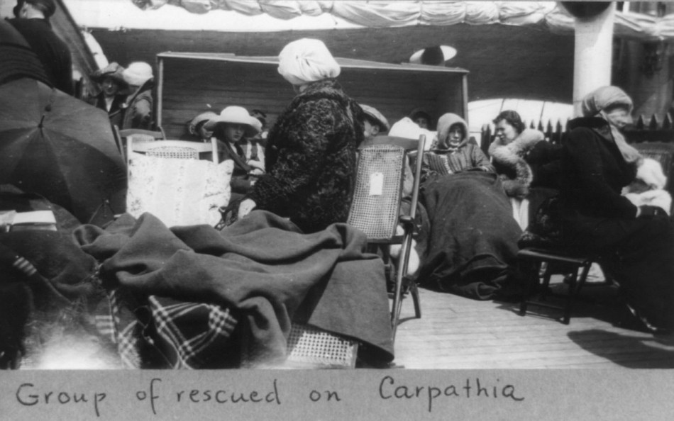 Group of survivors of Titanic disaster aboard the Carpathia after being rescued