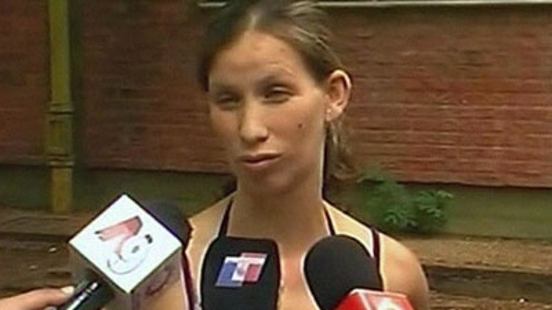 Analia Bouter speaks to local media outside the Argentine hospital