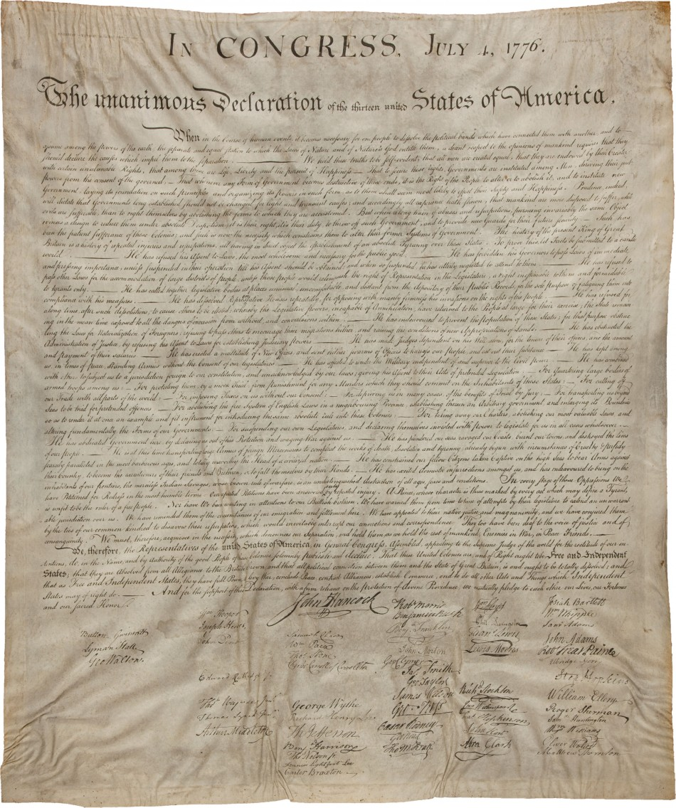 Copperplate print of US Declaration of Independence expected to sell for more than $250,000 at auction