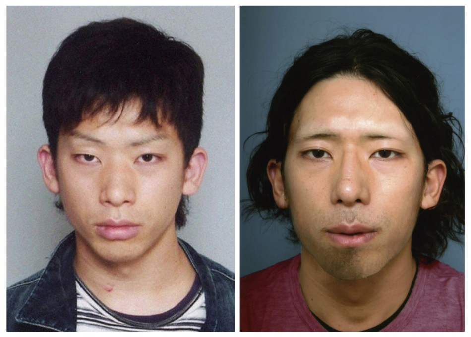 Tatsuya Ichihashi before and after he was captured