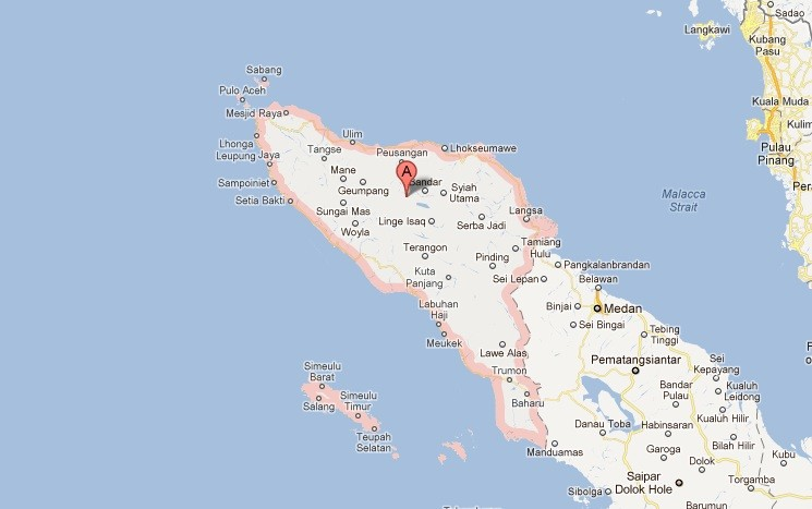 A tsunami measuring 17 cm has been generated in the Indian Ocean and is headed for the Aceh (googlemaps)