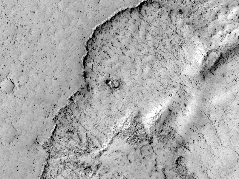 The rock formation on Mars shows what looks like the face of an elephant. (NASA/JPL/University of Arizona)
