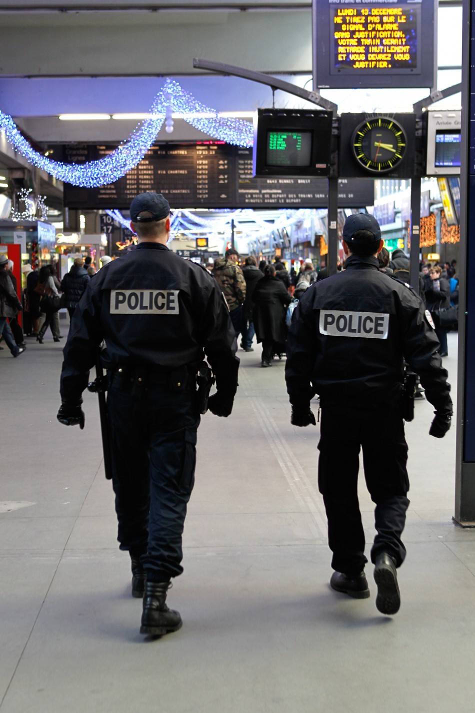 French police patrol Montparnasse train station in Paris