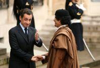 Nicolas Sarkozy and former  Libyan leader Muammar Gaddafi in  Paris in 2007