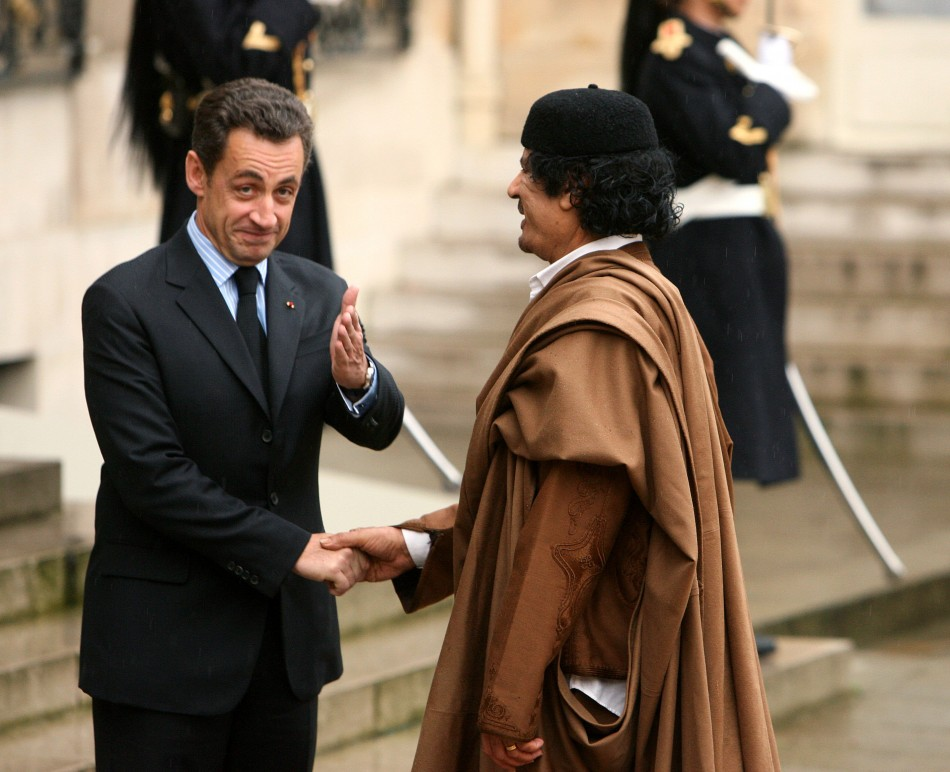 Nicolas Sarkozy and former  Libyan leader Muammar Gaddafi in  Paris in 2007