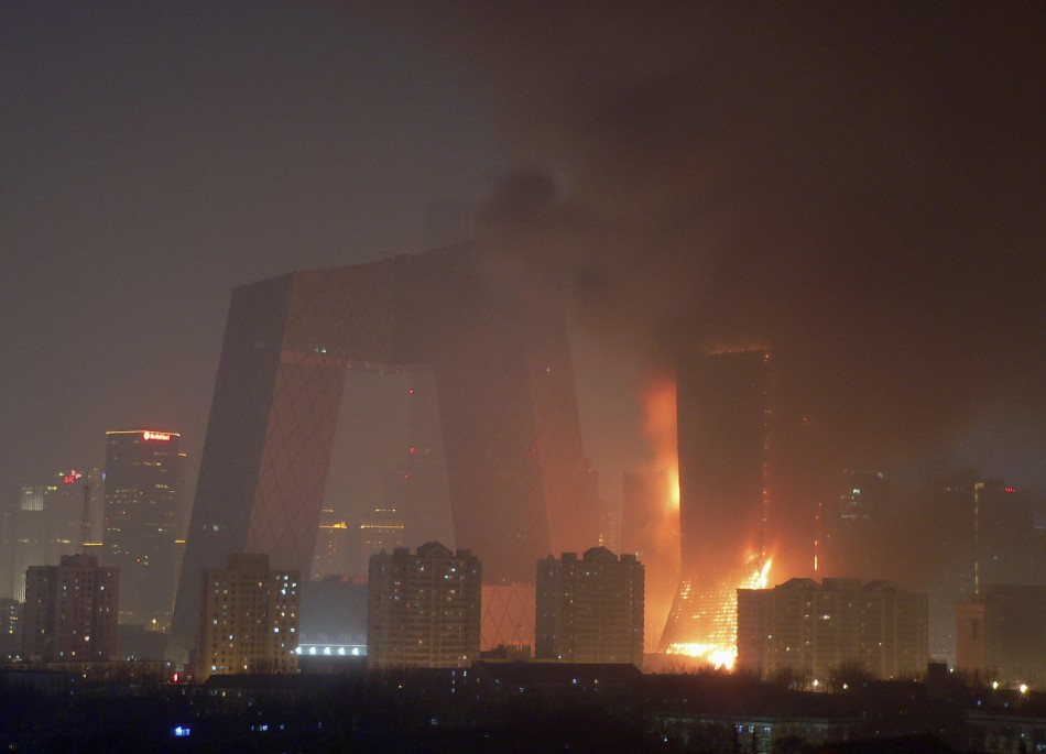 A huge blaze to the North Tower next to the CCTV building delayed its opening.