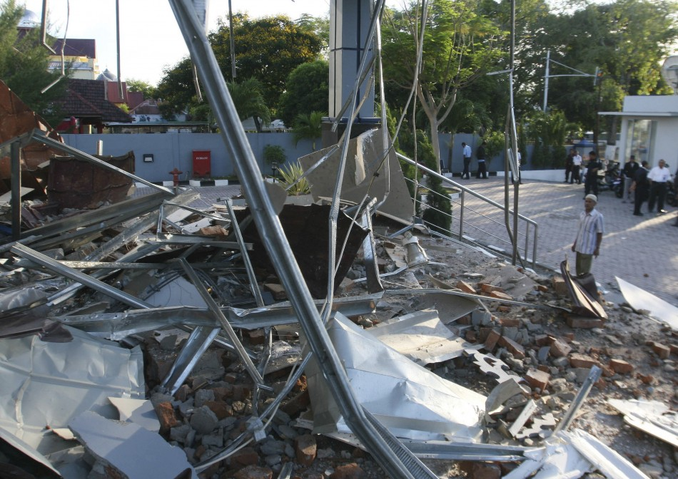 A damage of a local bank office is seen in Banda Aceh of the Indonesias Aceh province