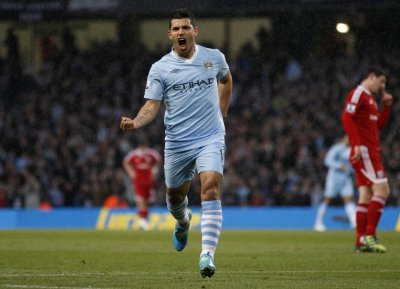 Manchester City039s Aguero celebrates goal against West Bromwich Albion during English Premier League soccer match in Manchester