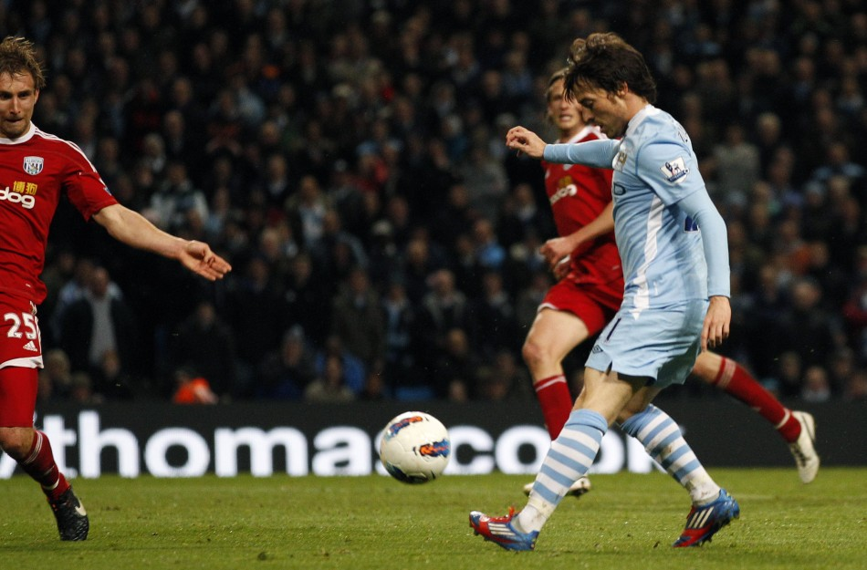 Manchester City039s Silva scores against West Bromwich Albion during their English Premier League soccer match in Manchester
