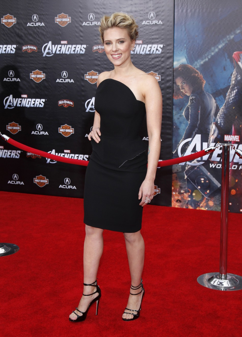 "Cast member Johansson poses at the world premiere of the film ""Marvel's The Avengers"" in Hollywood, California"