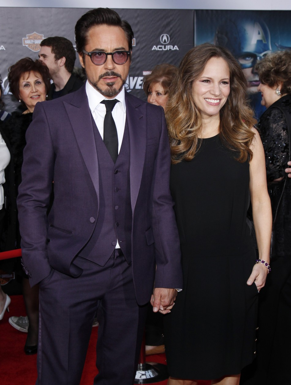 "Cast member Robert Downey Jr. and his wife Susan Downey pose at the world premiere of the film ""Marvel's The Avengers"" in Hollywood"