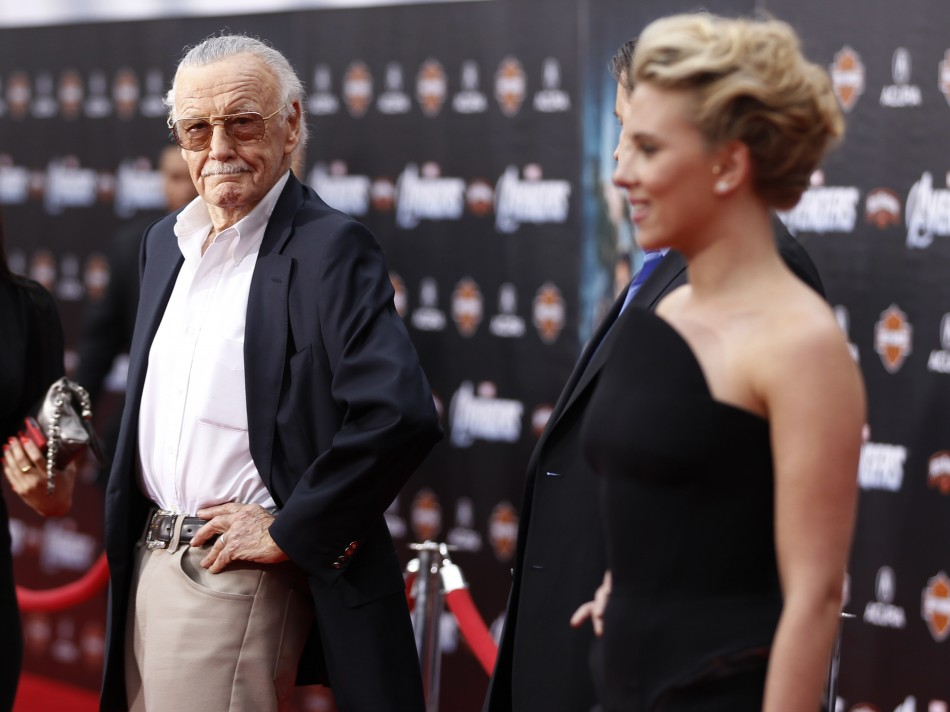 Comic book creator and executive producer Lee poses with cast member Johansson at the world premiere of the film quotMarvels The Avengersquot in Hollywood