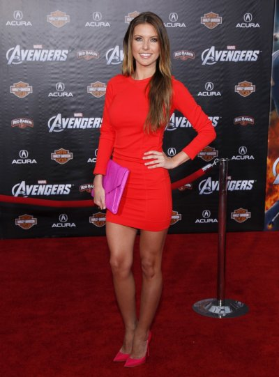 Reality TV personality Audrina Patridge poses at the world premiere of the film quotMarvels The Avengersquot in Hollywood, California