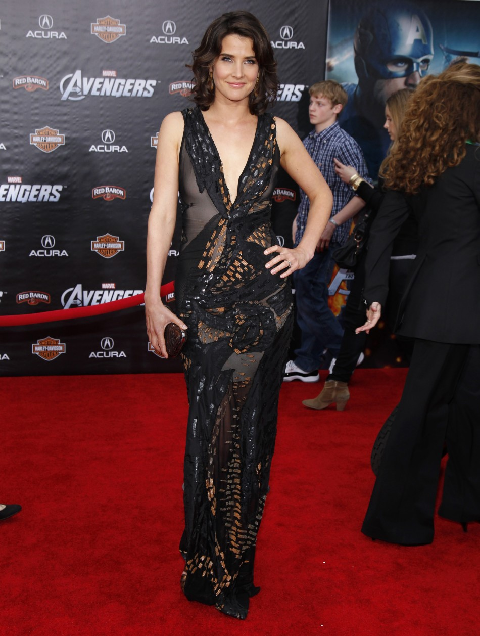 "Cobie Smulders poses at the world premiere of the film ""Marvel's The Avengers"" in Hollywood, California"