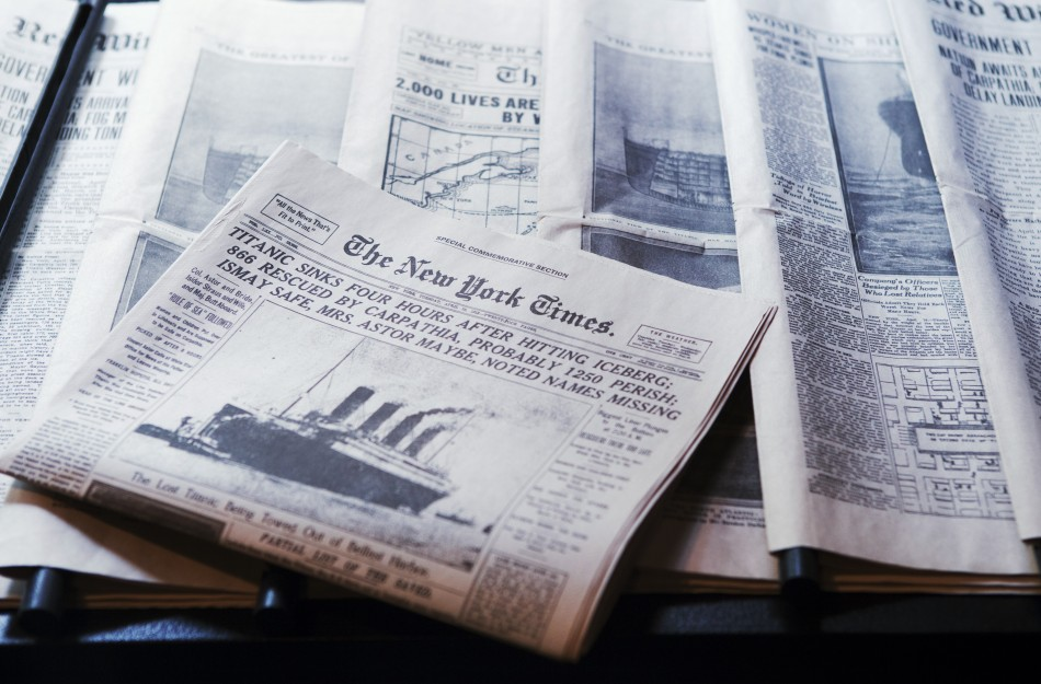 Copies of original newspapers describing the sinking of the Titanic rest in an exhibit at the South Street Seaport Museum commemorating the 100th anniversary of the sinking of the Titanic in New York