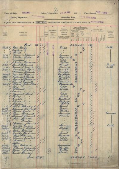 Handout photograph shows original passenger list for the Titanic