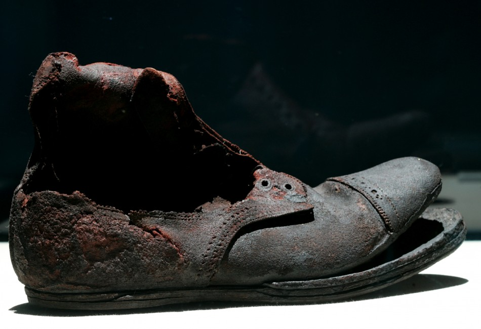 "A shoe is on display at the ""Titanic, The Artifact Exhibition"" at Athens' Zappeion hall"