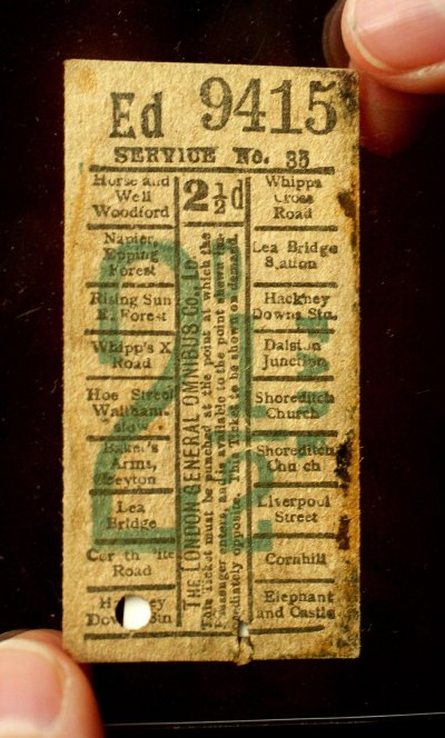 An Edwardian omnibus ticket taken from the Titanic is displayed at The Science Museum in London