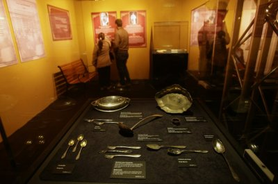 People visit an exhibition about the Titanic in Madrid