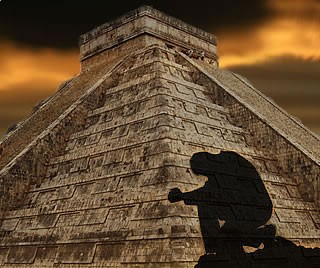 Man praying at the Mayan Pyramid