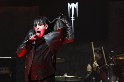 Musician Manson performs at the 4th annual Golden Gods awards at Nokia theatre in Los Angeles