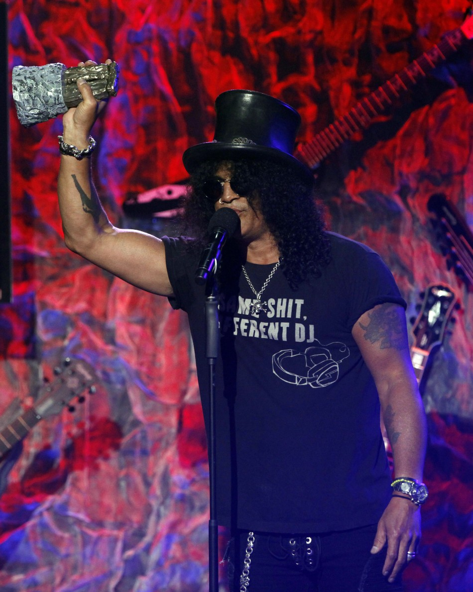 Musician Slash accepts the Riff Lord award at the fourth annual Golden Gods awards at Nokia theatre in Los Angeles
