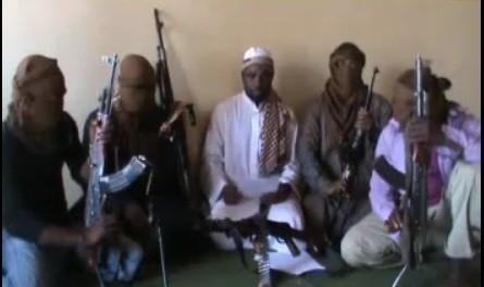 Boko Haram members in a YouTube video