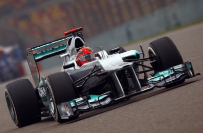 Mercedes Formula One driver Schumacher drives during the second practice session of the Chinese F1 Grand Prix at Shanghai International circuit