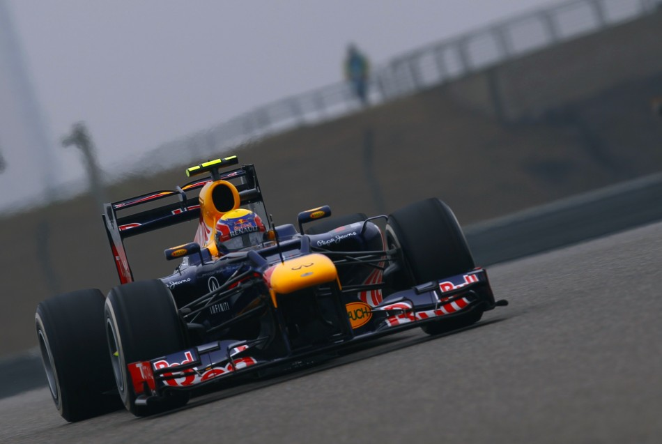 Red Bull Formula One driver Webber drives during the second practice session of the Chinese F1 Grand Prix at Shanghai circuit