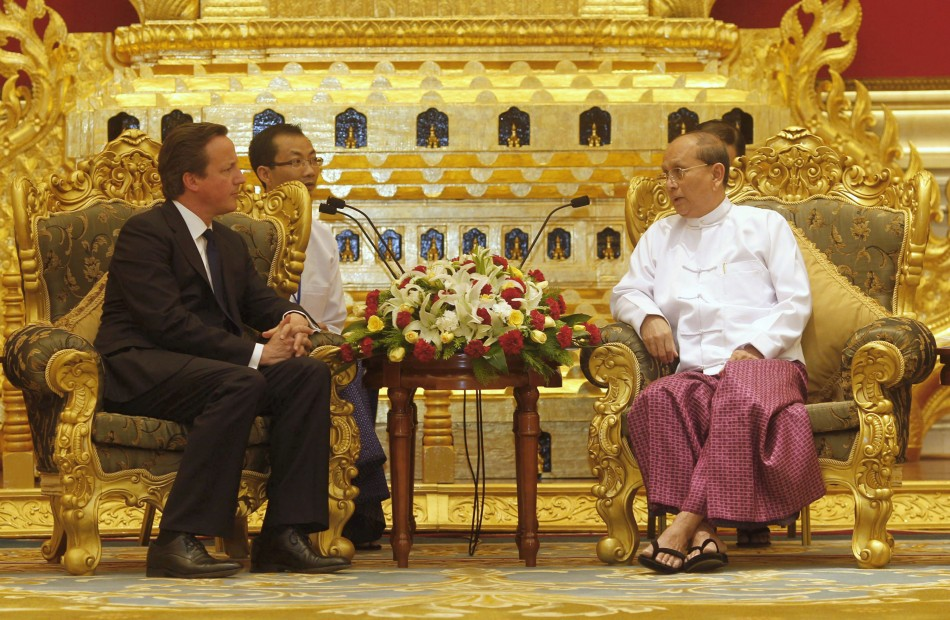 British Prime Minister David Cameron L listens to Myanmar039s President Thein Sein during their meeting at the President039s Office in Naypyitaw April 13, 2012.