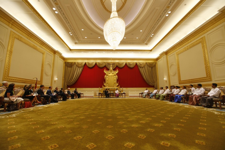Britain039s Prime Minister David Cameron and Myanmar039s President Thein Sein meet at the President039s Office in Naypyitaw 13042012.