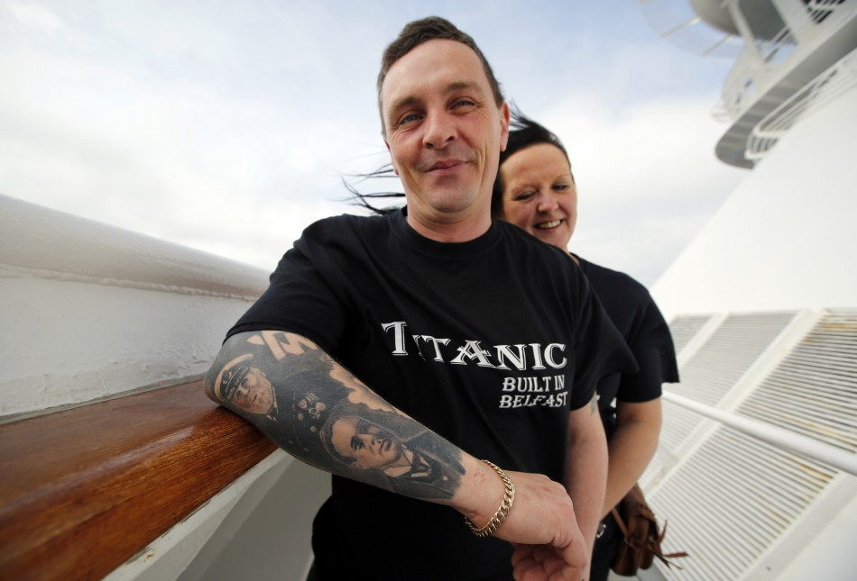 Derek Chambers of Belfast shows off tattoos of Titanics crew while onboard the Titanic Memorial Cruise in the mid-Atlantic Ocean