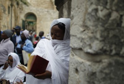 Ethiopian Orthodox worshippers at prayer
