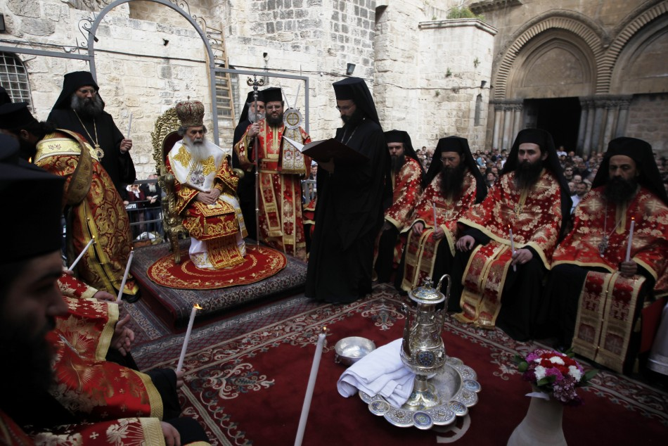 Greek Orthodox Patriarch of Jerusalem Metropolitan Theophilos and his clergy
