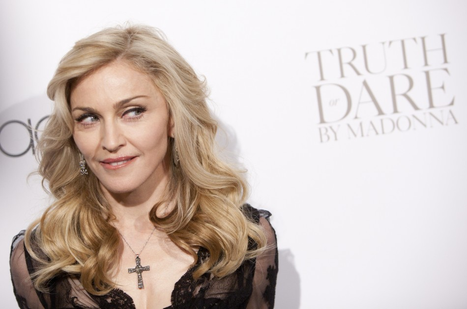 "Madonna arrives to the launch of her new fragrance, ""Truth or Dare by Madonna"" at Macy's in New York"