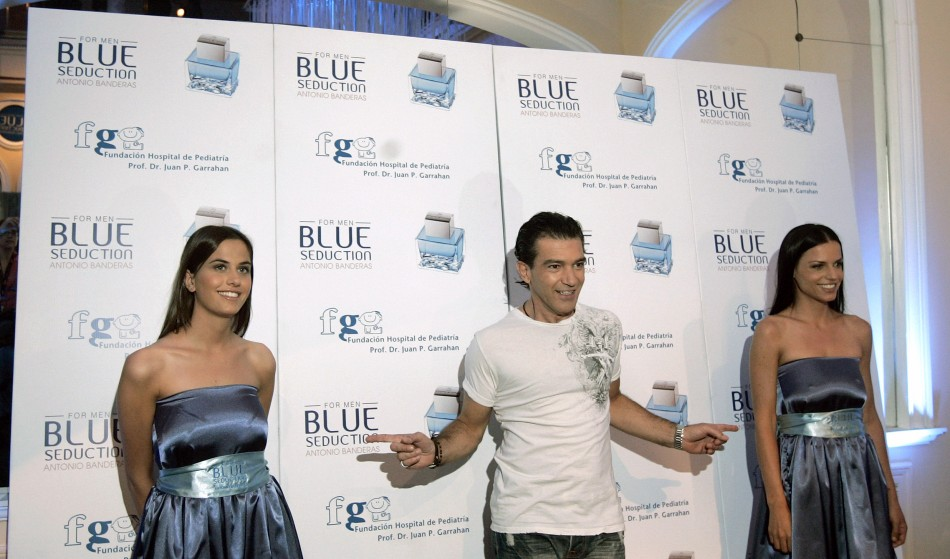 Spain's actor Antonio Banderas gestures during the presentation of his new perfume at a Buenos Aires' hotel