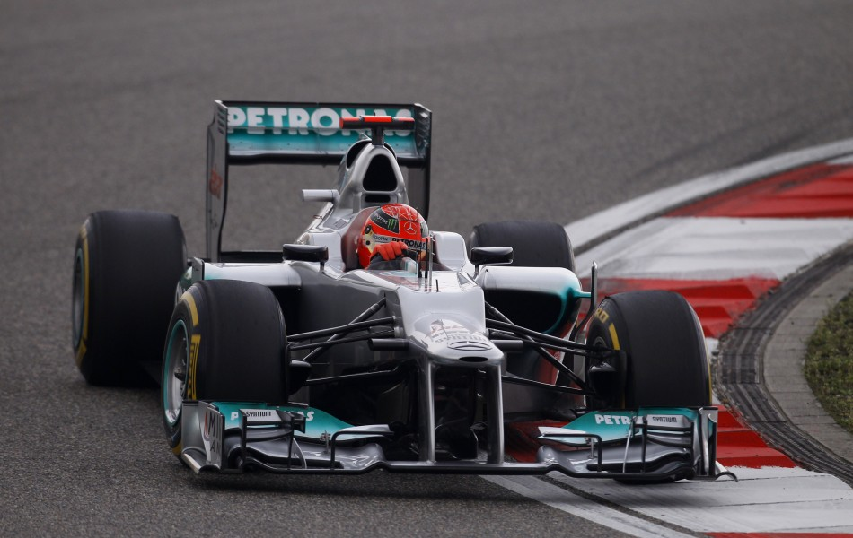 Mercedes Formula One driver Schumacher drives during the qualifying session of the Chinese F1 Grand Prix at Shanghai circuit