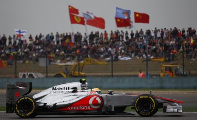McLaren Formula One driver Hamilton drives during the qualifying session of the Chinese F1 Grand Prix at Shanghai circuit
