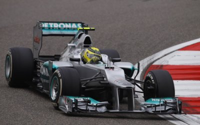 Mercedes Formula One driver Rosberg drives during the qualifying session of the Chinese F1 Grand Prix at Shanghai circuit